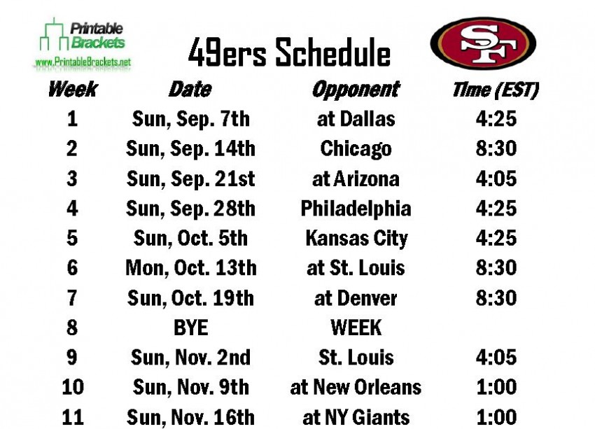 Revered image intended for 49ers schedule printable