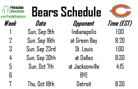 Terrible image in chicago bears printable schedule