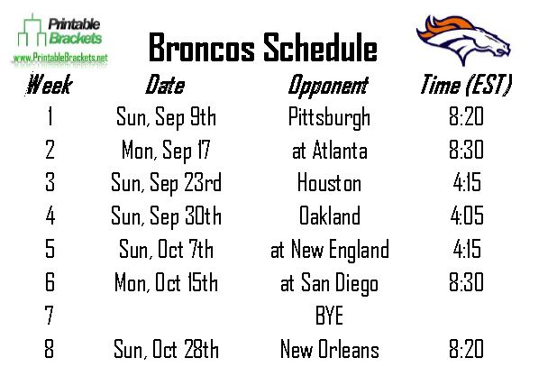 Broncos Schedule | Denver Broncos Schedule » Printable Brackets