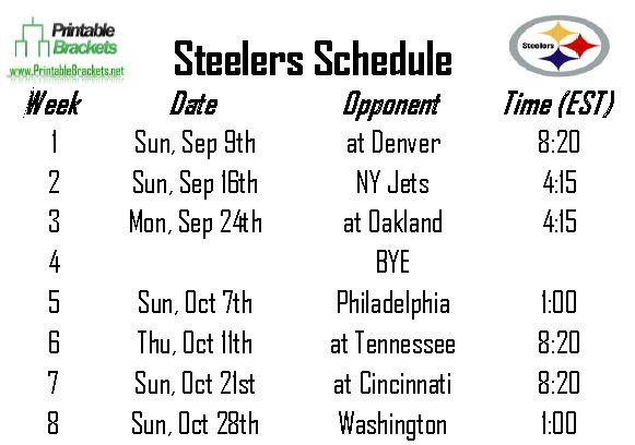 Steelers schedule pittsburgh steelers schedule printable brackets - Steelers schedule 2014 printable ...