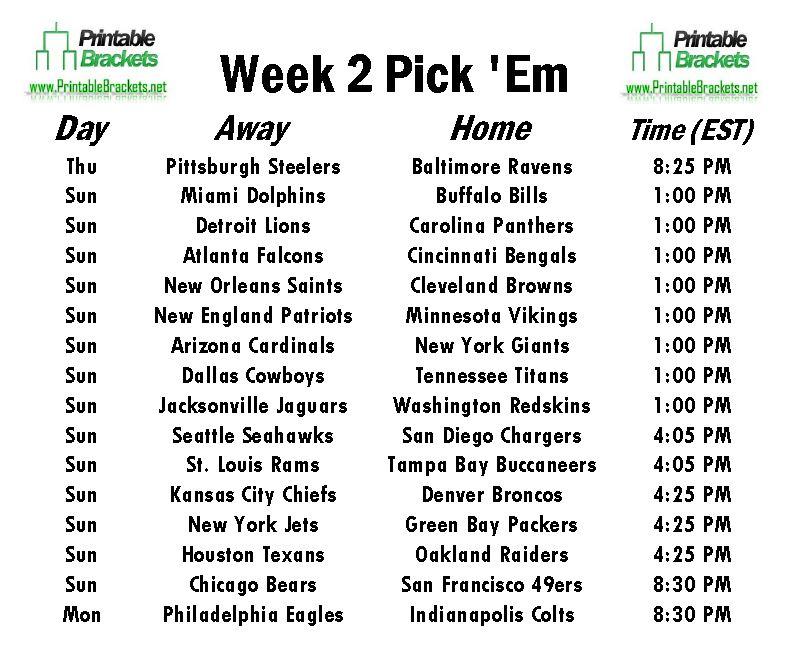 NFL Pick Em Week 2 | Pro Football Pick Em Week 2 » Printable Brackets