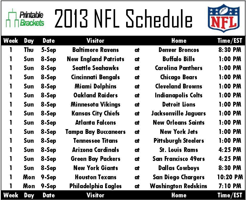 2013 NFL Schedule | NFL Schedule 2013 | Printable NFL Schedule