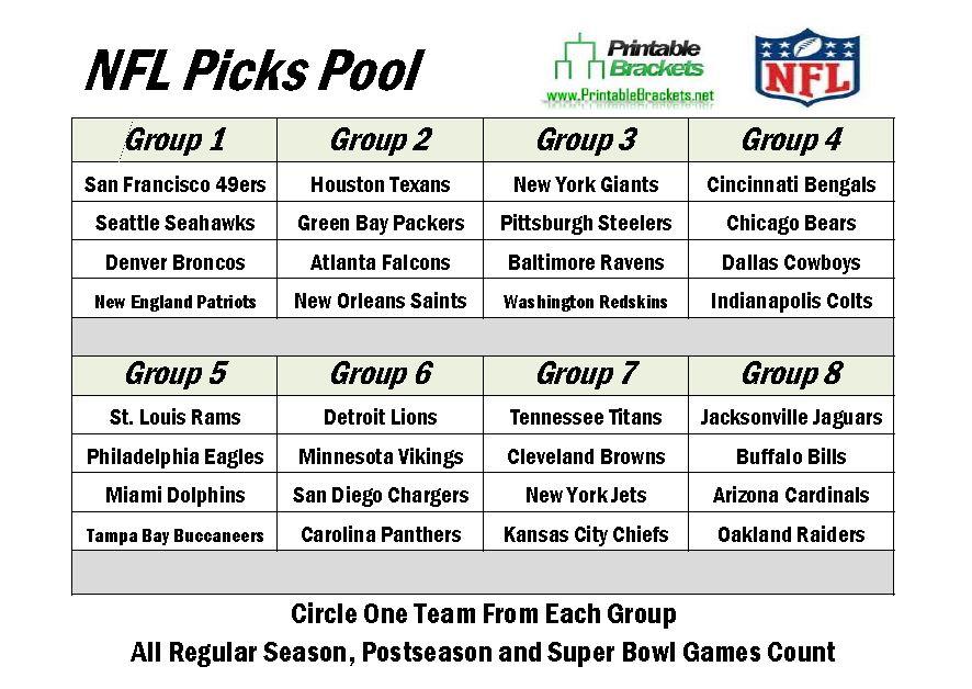 2013 NFL Picks | NFL Picks Pool | Make NFL Picks » Printable Brackets