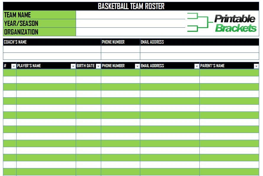 Youth Basketball Lineup Sheet Pictures to Pin PinsDaddy – Football Roster Template