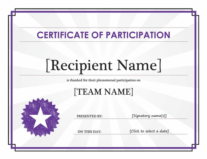 Certificate of Participation | Certificate of Participation Template ...