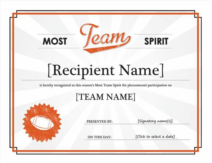 Team Spirit Award   Team Spirit Award Template » Printable Brackets